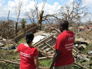 CBM emergency response workers assessing damage following typhoone Haiyan in Philippines.