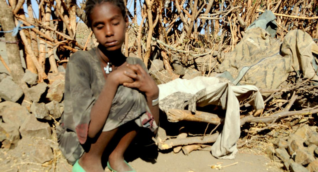 Sira, who is blind, in drought-stricken Amhara province