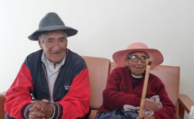 Bernardino and Leonadra at Ferdan in Peru waiting for cataract treatment.
