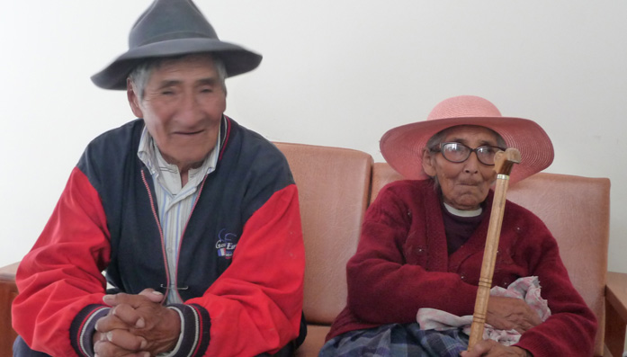 Bernardino and Leonadra at Ferdan Hospital in Peru waiting for cataract treatment.