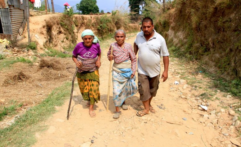 Nepal EQ_HRDC relief camp_May 30, 2015: CBM partner HRDC (Hospital and Rehabilitation Centre for Disabled Children) organized a health relief camp at remote 'Phatakshila' village in Sindhupalchowk district, on  May 30, 2015.  On 25 April 2015 a 7.8 magnitude earthquake hit Nepal, close to Kathmandu, the capital city. There have been many aftershocks since then, including a second major earthquake on 12 May. A month later, the death toll has crossed 8,000, more than 17,000 have been injured and over 500,000 houses have been damaged.