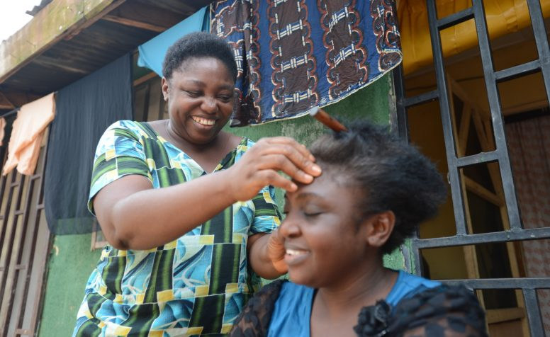 Ada Sule has polio and is now making her living as a hairdresser.