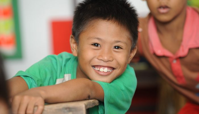 A young boy at school in Philippines.