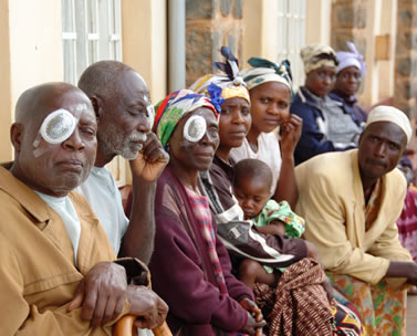 Cataract patients wearing eye bandages following their surgery.