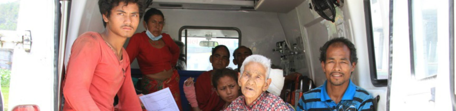 Patients being transported to hopsital supported by CBM following the Nepal earthquake in 2015.