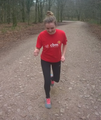 Ali taking part in St David's Day 10k run for children with clubfoot.