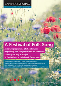 A Festival of folk song by Cambridge Chorale in aid if CBM poster.