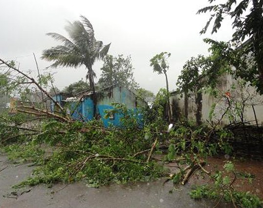 This image shows damage several hours after the cyclone hit Gajapati District, Odisha, in India.