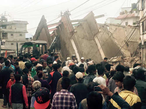 Nepal capital city Kathamandu destroyed following eartquake.