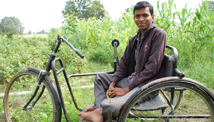 Rajesh was paralyzed from birth and is now is an organic farmer.
