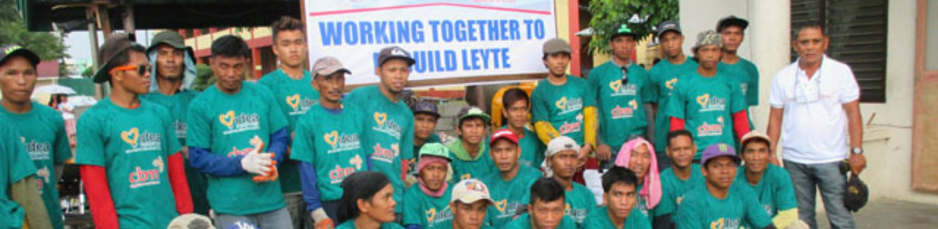 CBM's response team standing together in Philippines following philippines typhoon.