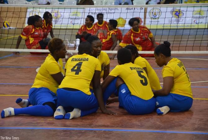 Rwanda sitting volleyball team during a qualifying match