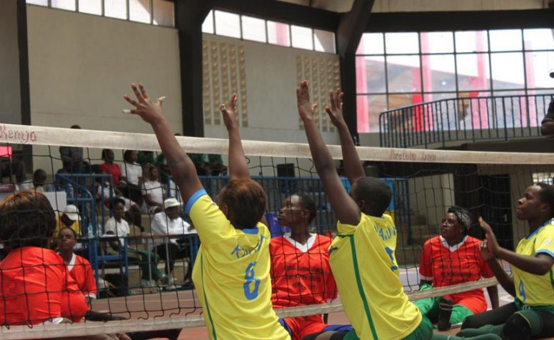 Rwanda's sitting volleyball team in action