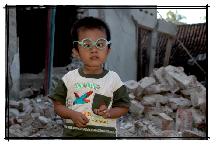 Young child who is visually impaired in indonesia