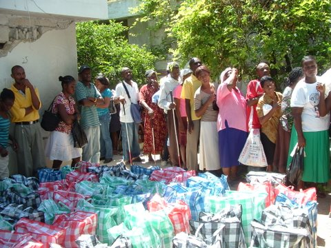 CBM partner distributes food to blind people after 2010 earthquake