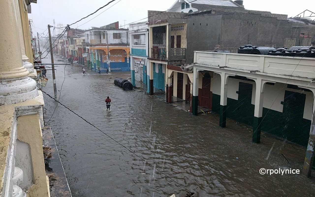 Flooded street in Les Cayes, Haiti