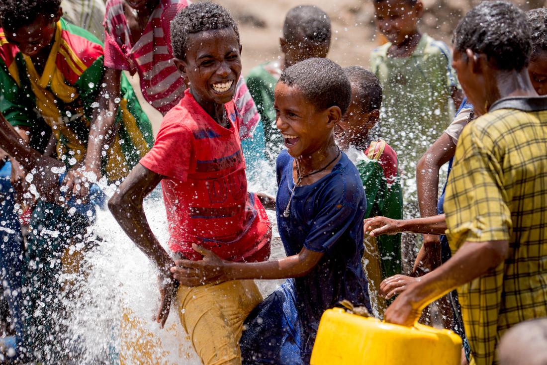 Children in Ethiopia play in water