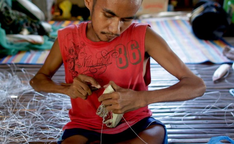 Melmar Articulo (who is 33) is the primary breadwinner for the family of five (his parents plus a brother and sister). He does various jobs (from home), including fabricating fishnets, fishing accessories as well repairing shoes and cutting hair. He is unable to walk (from birth) and his wheelchair was lost during typhoon Haiyan.