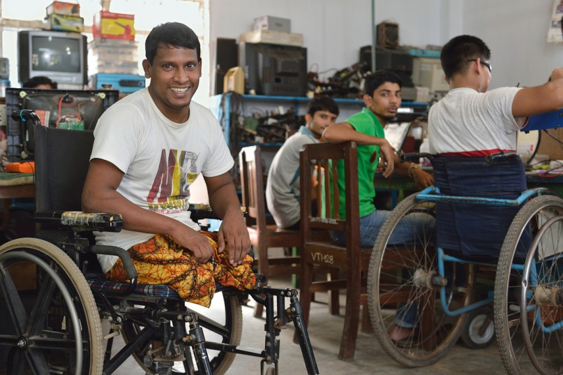 22-year-old Amjad Hossain lost both his lower legs when the Rana Plaza building collapsed in Dhaka, Bangladesh. He was forced to stop working as a mechanic but is now doing an apprenticeship as an electronic technician thanks to CBM partner Centre for Rehabilitation of the Paralyzed.