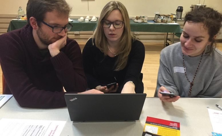 Delegates from CBM UK training session in Scotland trailing out the HHOT app.
