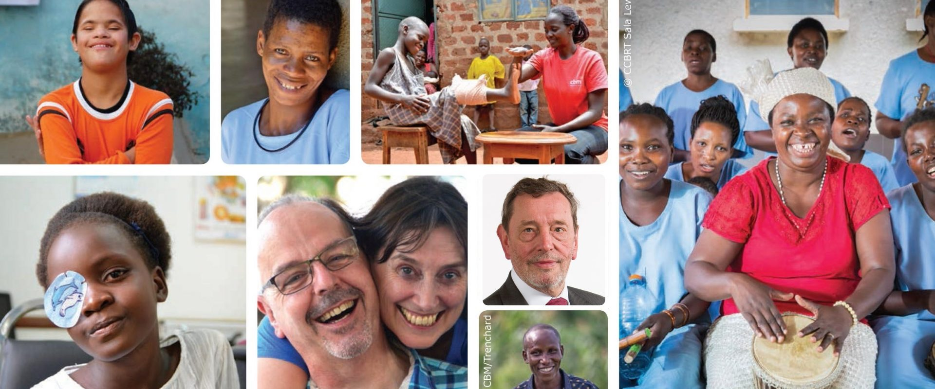 Images of health workers, experts, supporters and people who've been helped by CBM programmes