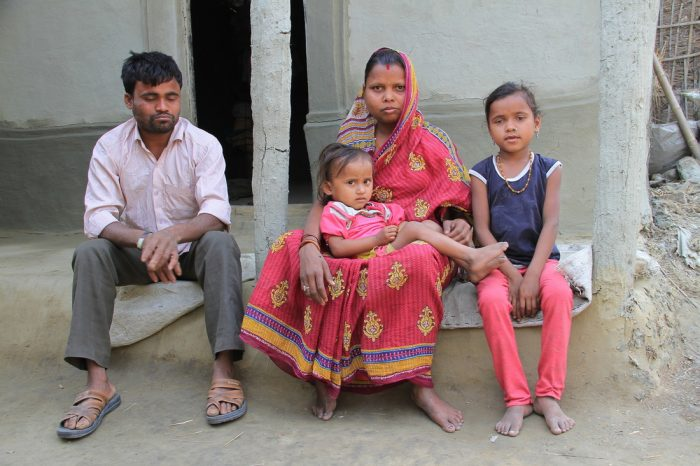 Uttam with his family in Nepal.