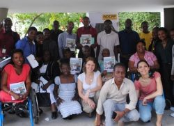 Kirsty with representatives of Disabled Peoples' organisations in Haiti