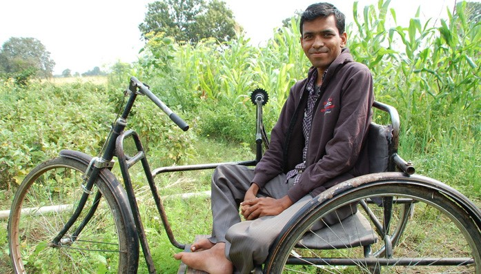 Rajesh has a physical disability. He has been supported by CBM's organic farming scheme in India.