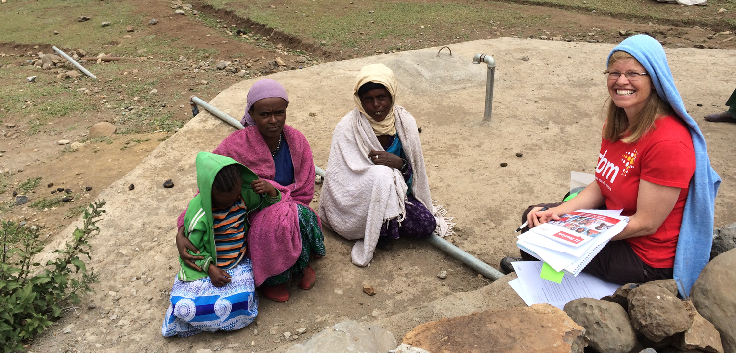 CBM volunteer, Theresa, on a visit to CBM's programme in Ethiopia which tackles blinding trachoma