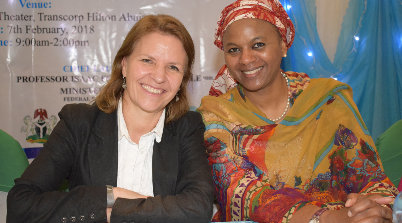 Kirsty Smith (Chief Executive, CBM UK) and Dr Fatima Kyari (IAPB representative). at the programme launch in Abuja.