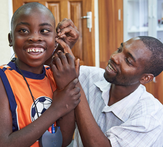Patient receives ear examination at a CBM-supported hospital in Zambia