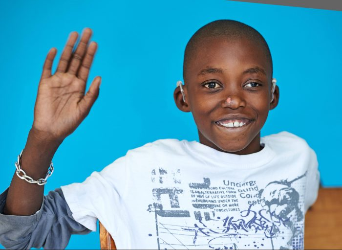Balika (12) has been fitted with hearing aids at a CBM-supported hospital in Zambia