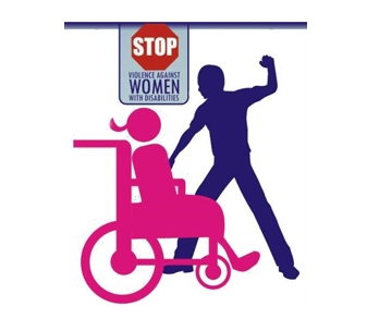 Icon showing a man attacking a woman in a wheelchair. Text reads: Stop violence against women with disabilities.