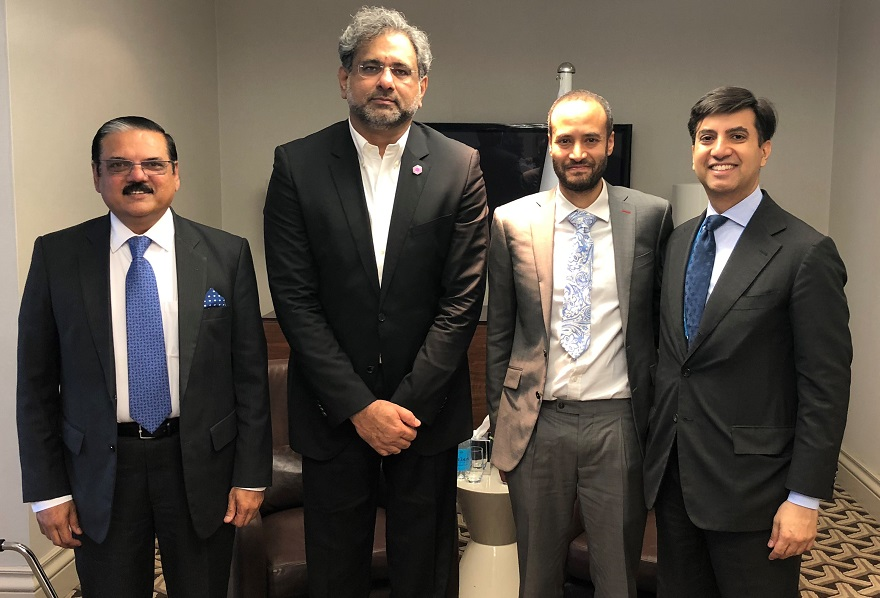 Dr Babar Qureshi, Prime Minister Shahid Khaqan Abbasi, Dr Andrew Bastawrous and