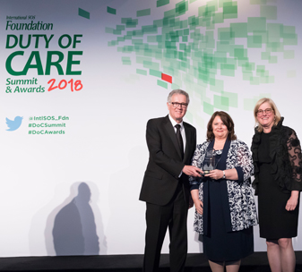 CBM wins the Thought Leadership Award at the SOS Duty of Care Awards 2018. © SOS International.