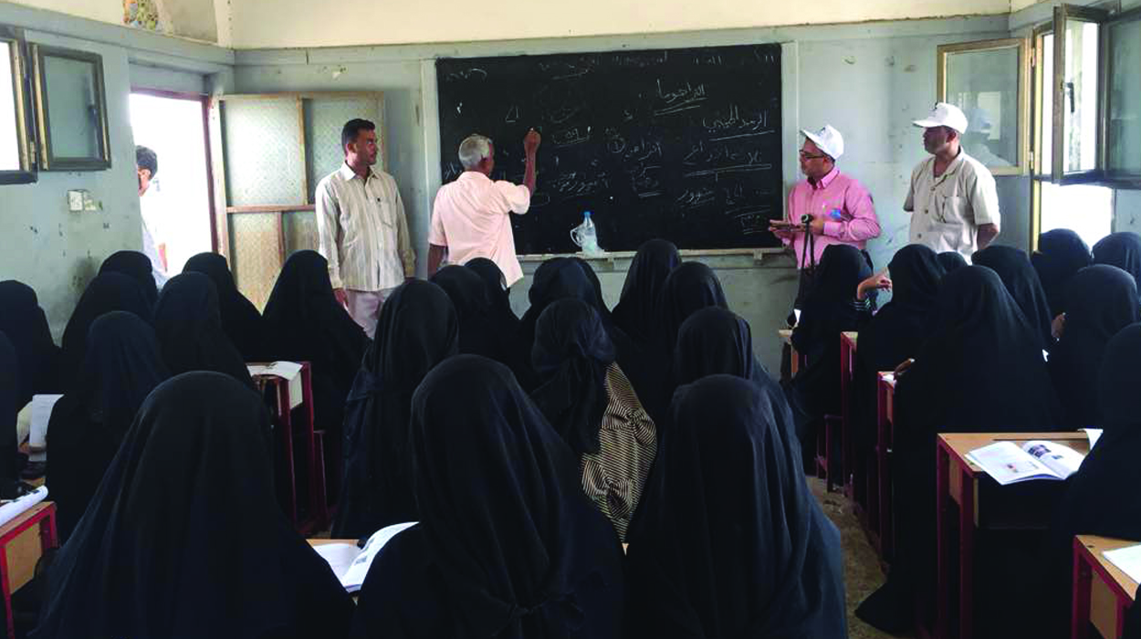 A group of female community health volunteers take part in training to distribute the first ever treatments for blinding trachoma in Yemen. (© Yemen Ministry of Health)