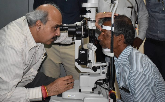 First eye examinations taking place at the Vision Centre in Saharanpur, Uttar Pradesh, India.