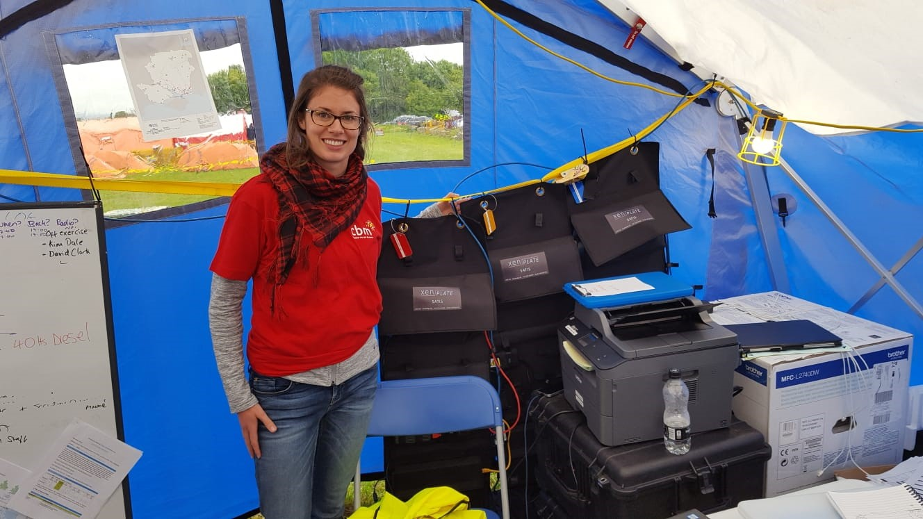 Emma Pettey in her tent at the SimEx disaster response simulation.