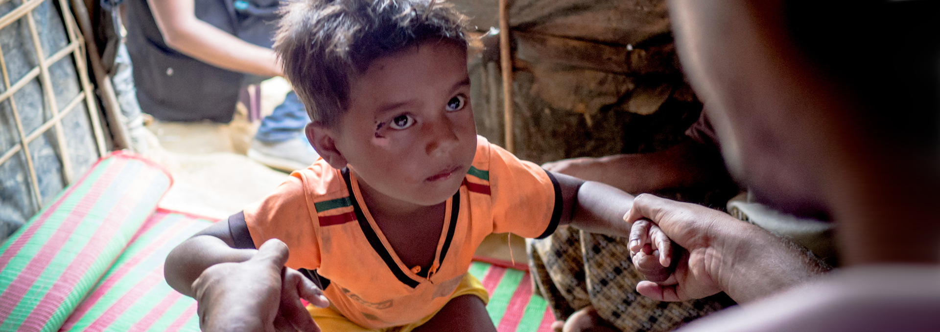 3-year-old Haris receives daily physiotherapy from CBM's local partner in Bangladesh.