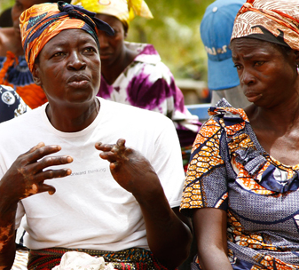 Ayipele (41), who has epilepsy, talks to other members of her self-help group in Sandema, Northern Ghana.