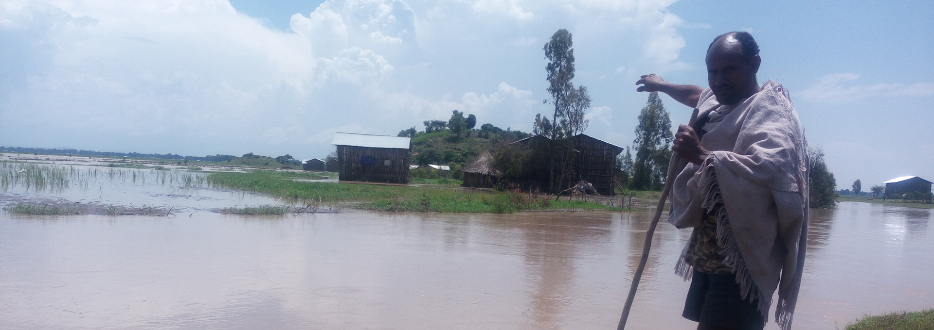 Amhara region of north west Ethiopia surrounded by floodwater