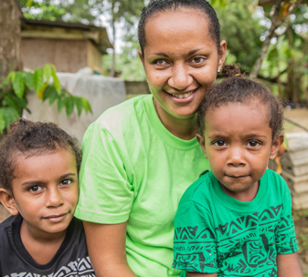 Shirley, 24, from Vanuatu, and her two sons.