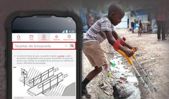 Child on crutches crosses a muddy ditch, image of mobile phone showing bridge