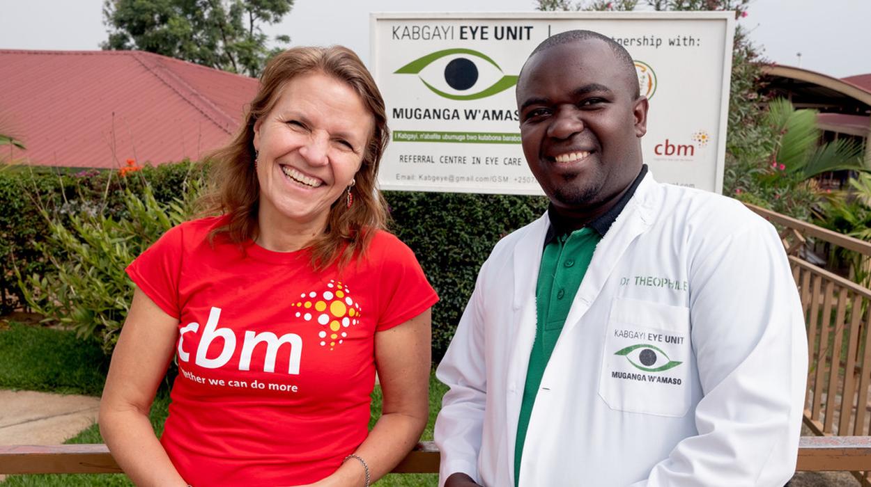 CBM UK Chief Executive, Kirsty Smith, with Dr Theophile Tuyisabe at Kabgayi Hospital in Kabgayi, Rwanda