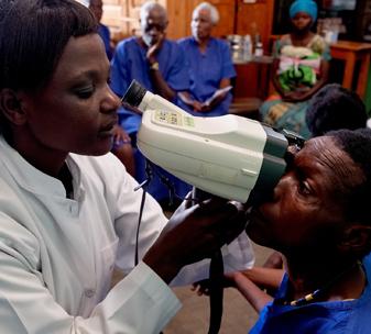 Nurse Eugenia at CBM partner Kabgayi Eye Unit in Rwanda