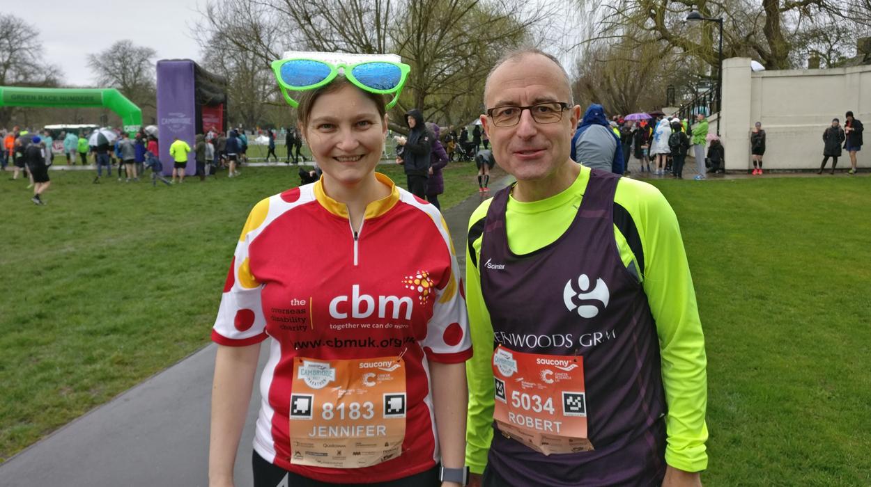 Jenni & Robert at Cambridge half marathon for CBM UK See the Way.