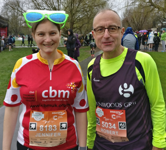 Jenni & Robert at Cambridge half marathon for CBM UK See the Way.