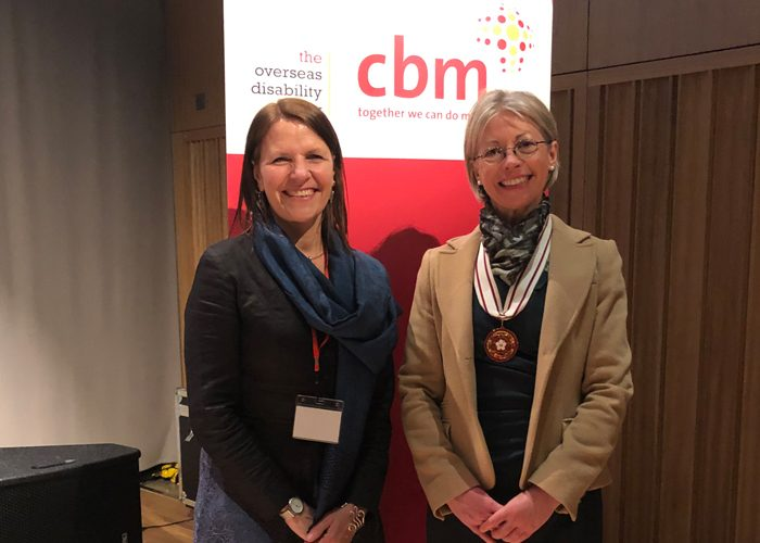 Kirsty Smith, Chief Executive of CBM UK (left) and Lily Bacon, Deputy Lieutenant for Cambridgeshire (right)
