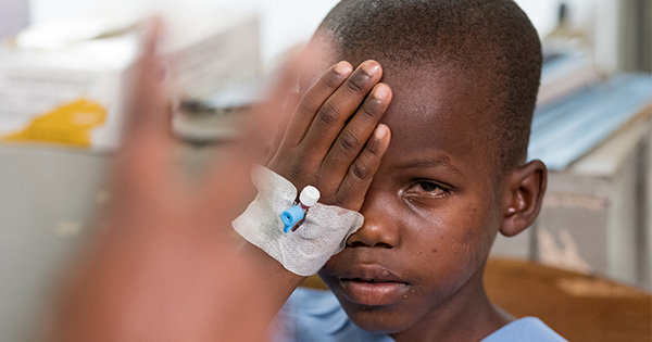 Yona gets his vision tested after having his bandages removed after his cataract surgery