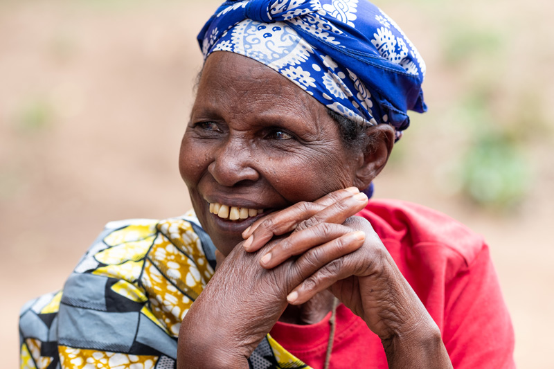 Bilateral cataract patient Salomé  at her home in Rwanda